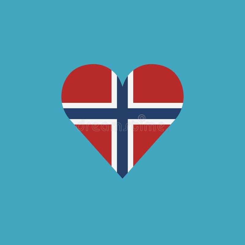 Εικονίδιο σημαιών της Νορβηγίας σε μια μορφή καρδιών στο επίπεδο σχέδιο διανυσματική απεικόνιση