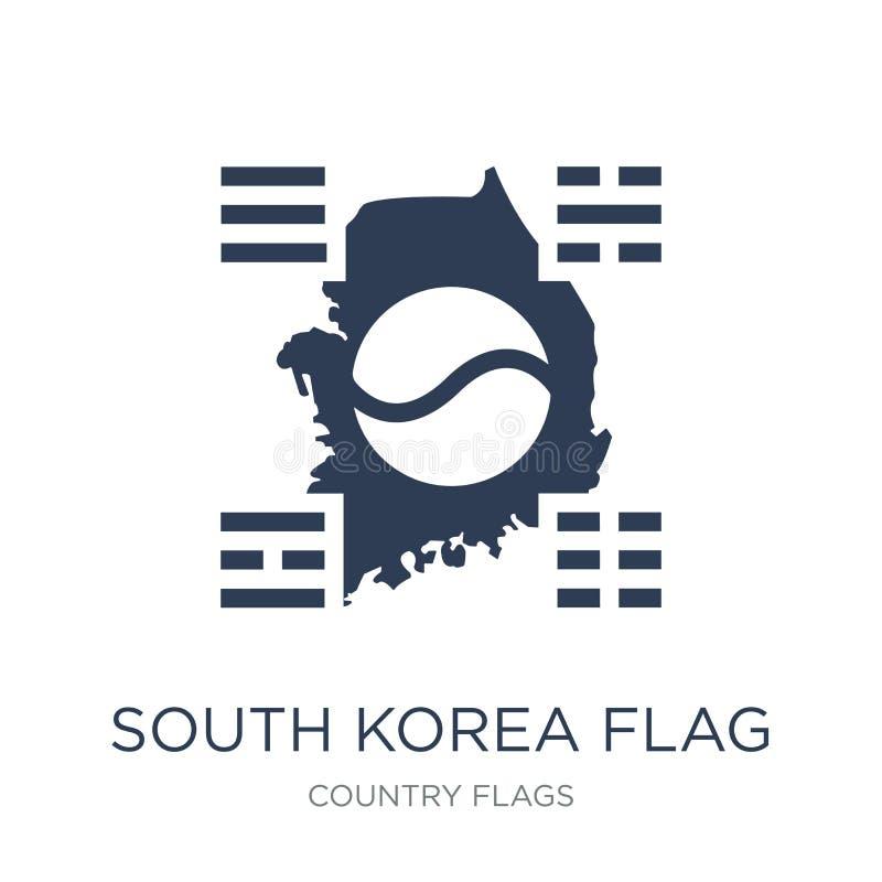 Εικονίδιο σημαιών της Νότιας Κορέας  διανυσματική απεικόνιση
