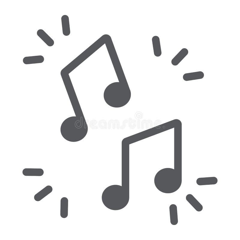Εικονίδιο σημειώσεων μουσικής glyph, μουσικός και υγιής, σημάδι μελωδίας, διανυσματική γραφική παράσταση, ένα στερεό σχέδιο σε έν ελεύθερη απεικόνιση δικαιώματος