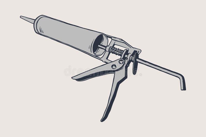 Εικονίδιο σιλικόνης στο άσπρο υπόβαθρο Τοποθετώντας κόλλα διανυσματική απεικόνιση
