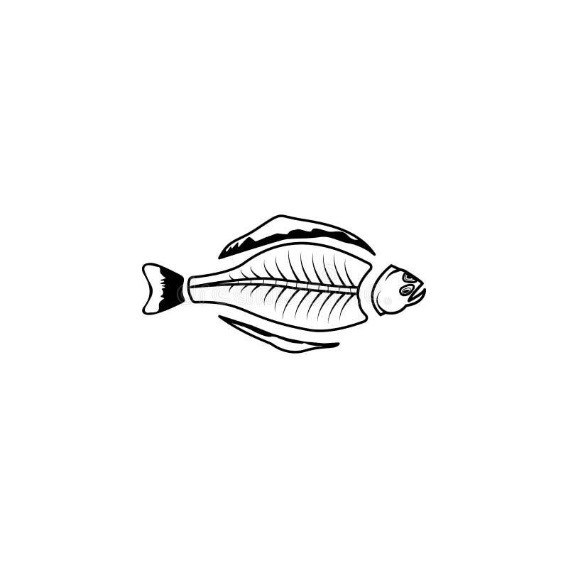 εικονίδιο σκελετών ιππογλώσσων Στοιχεία προϊόντων ψαριών και θάλασσας ελεύθερη απεικόνιση δικαιώματος