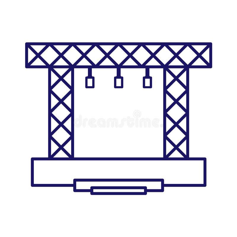 Εικονίδιο σκηνικών διανυσματικό κατασκευών Σύγχρονη γραμμή σκηνής συναυλίας διανυσματική απεικόνιση