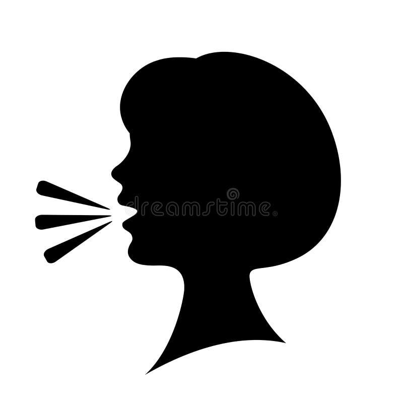 Εικονίδιο σκιαγραφιών γυναικών ομιλίας ελεύθερη απεικόνιση δικαιώματος