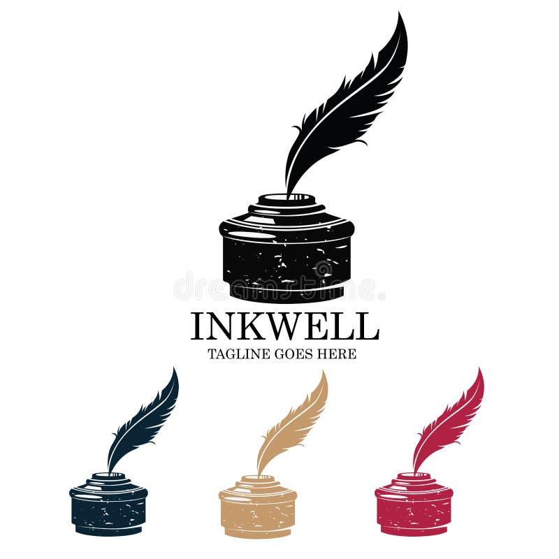 Εικονίδιο σκιαγραφιών φτερών γραψίματος Inkwell διανυσματικό λογότυπο ελεύθερη απεικόνιση δικαιώματος