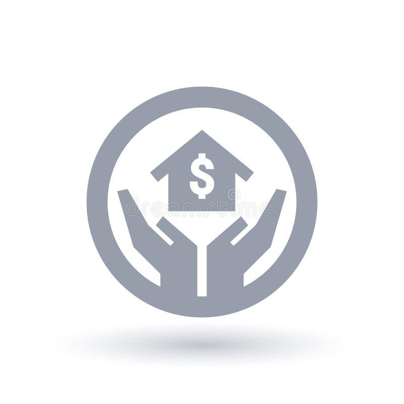 Εικονίδιο στεγαστικού δανείου ιδιοκτησίας με τα χέρια, το σύμβολο σπιτιών και δολαρίων διανυσματική απεικόνιση