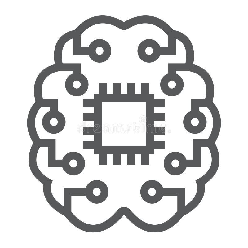 Εικονίδιο, στοιχεία και analytics γραμμών σκέψης μηχανών διανυσματική απεικόνιση