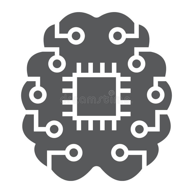 Εικονίδιο, στοιχεία και analytics σκέψης μηχανών glyph απεικόνιση αποθεμάτων