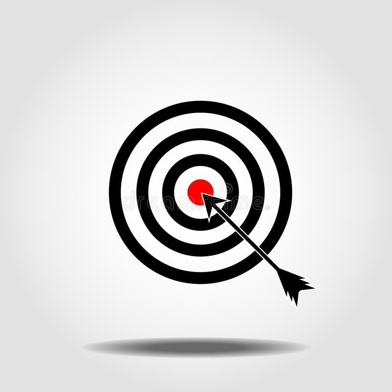 Εικονίδιο στόχων στο καθιερώνον τη μόδα επίπεδο ύφος που απομονώνεται στο άσπρο υπόβαθρο Σύμβολο στόχου για το σχέδιο ιστοχώρου σ απεικόνιση αποθεμάτων