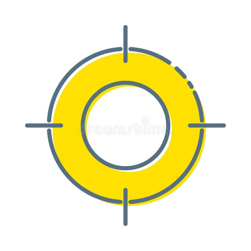 Εικονίδιο στόχων στο καθιερώνον τη μόδα επίπεδο ύφος που απομονώνεται στο άσπρο υπόβαθρο Σύμβολο στόχου για το σχέδιο ιστοχώρου σ διανυσματική απεικόνιση