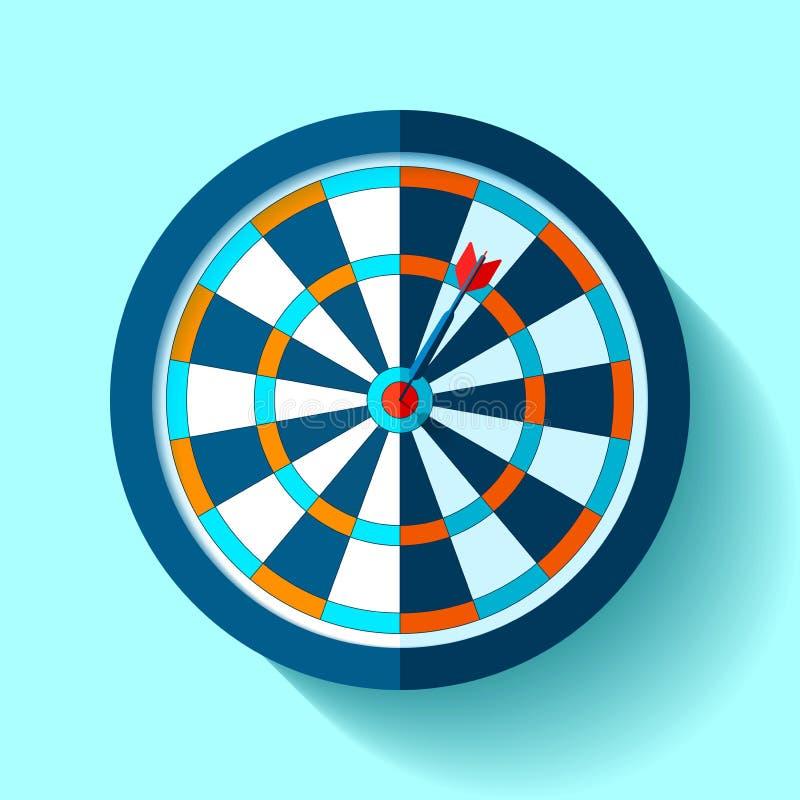 Εικονίδιο στόχων όγκου στο επίπεδο ύφος στο υπόβαθρο χρώματος τρισδιάστατη εικόνα παιχνιδιών βελών που δίνεται Βέλος στον κεντρικ διανυσματική απεικόνιση