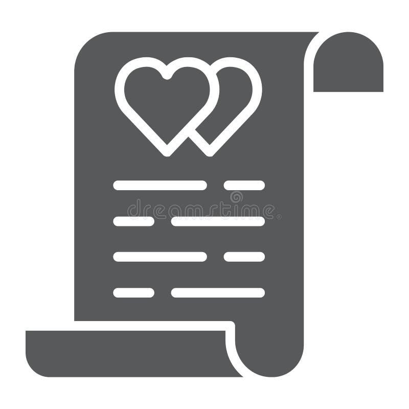 Εικονίδιο συμβάσεων γάμου glyph, έγγραφο και συμφωνία, ασφαλιστικό σημάδι γάμου, διανυσματική γραφική παράσταση, ένα στερεό σχέδι διανυσματική απεικόνιση