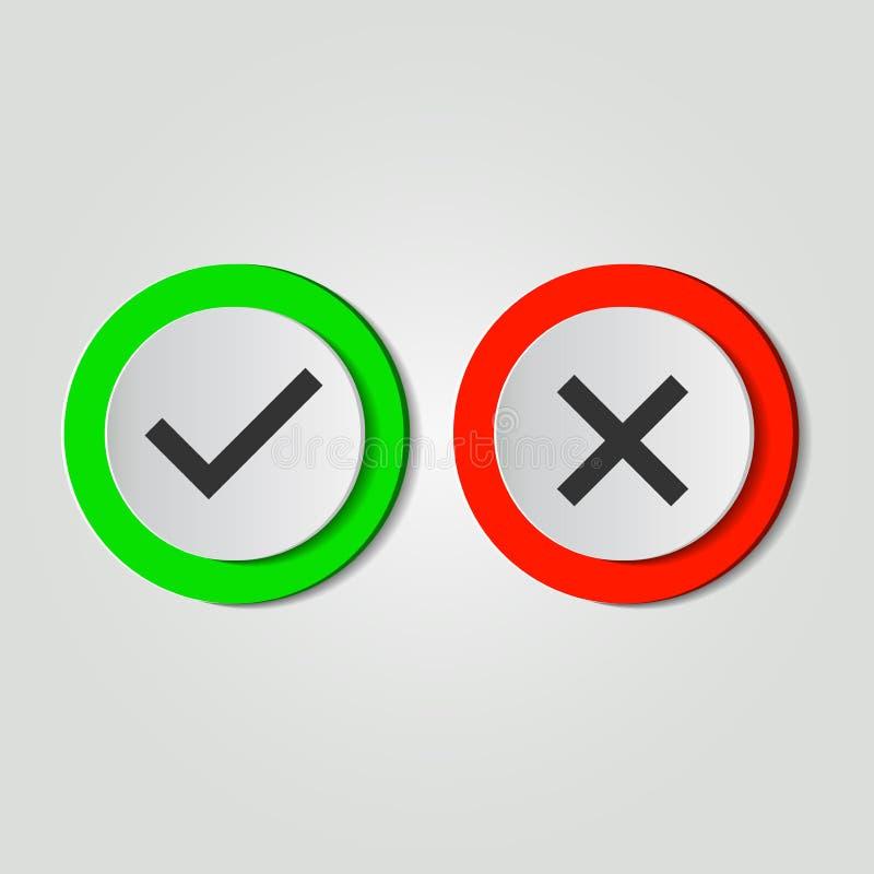 Εικονίδιο συμβόλων ναι ή όχι, πράσινος, κόκκινο στο άσπρο υπόβαθρο επίσης corel σύρετε το διάνυσμα απεικόνισης απεικόνιση αποθεμάτων