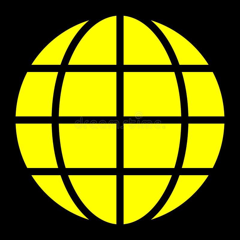 Εικονίδιο συμβόλων σφαιρών - κίτρινος απλός, απομονωμένος - διάνυσμα ελεύθερη απεικόνιση δικαιώματος