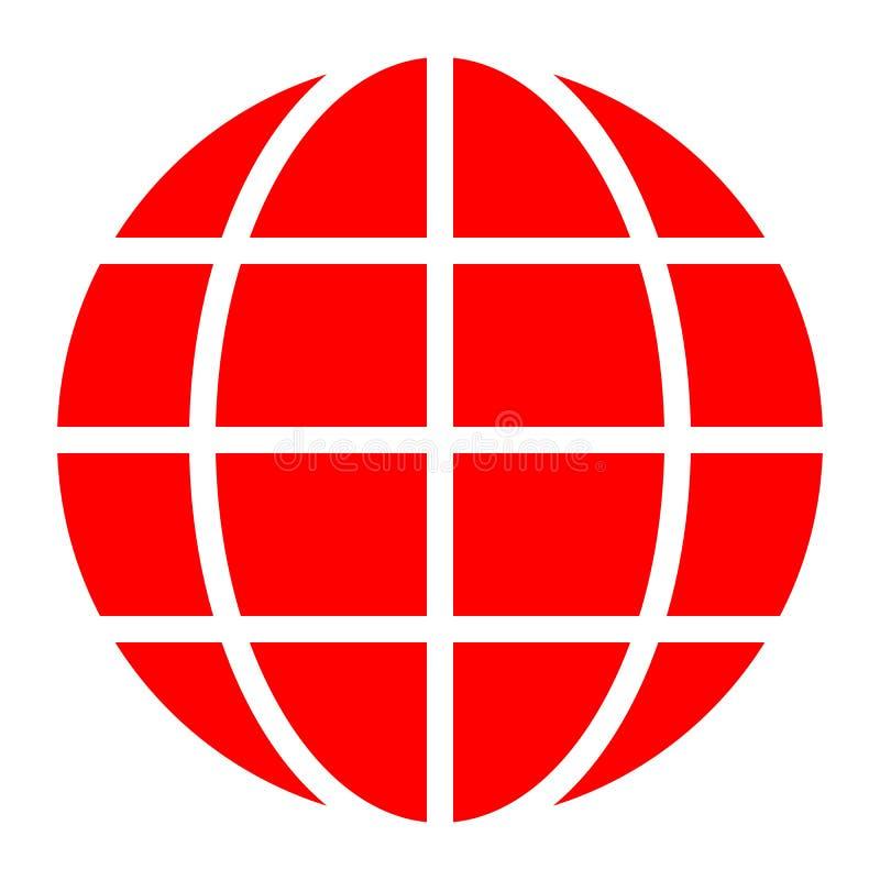 Εικονίδιο συμβόλων σφαιρών - κόκκινος απλός, απομονωμένος - διάνυσμα διανυσματική απεικόνιση