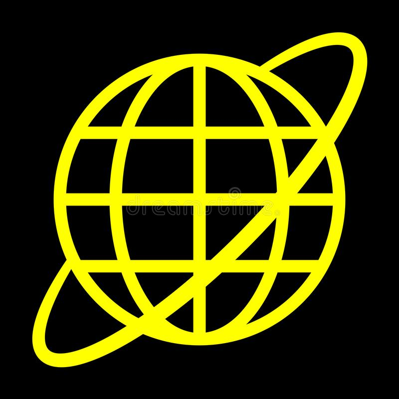 Εικονίδιο συμβόλων σφαιρών με την τροχιά - κίτρινος απλός, απομονωμένος - διάνυσμα διανυσματική απεικόνιση