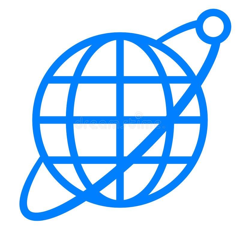Εικονίδιο συμβόλων σφαιρών με την τροχιά και το δορυφόρο - μπλε απλός, απομονωμένος - διάνυσμα διανυσματική απεικόνιση