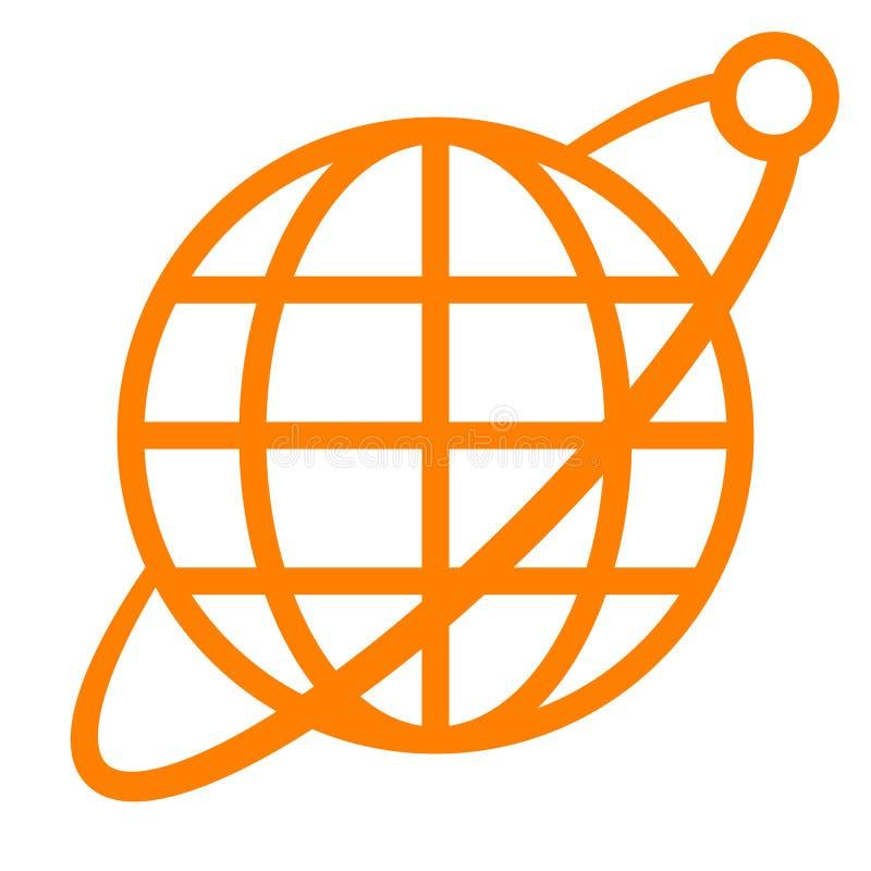 Εικονίδιο συμβόλων σφαιρών με την τροχιά και το δορυφόρο - πορτοκαλής απλός, απομονωμένος - διάνυσμα απεικόνιση αποθεμάτων