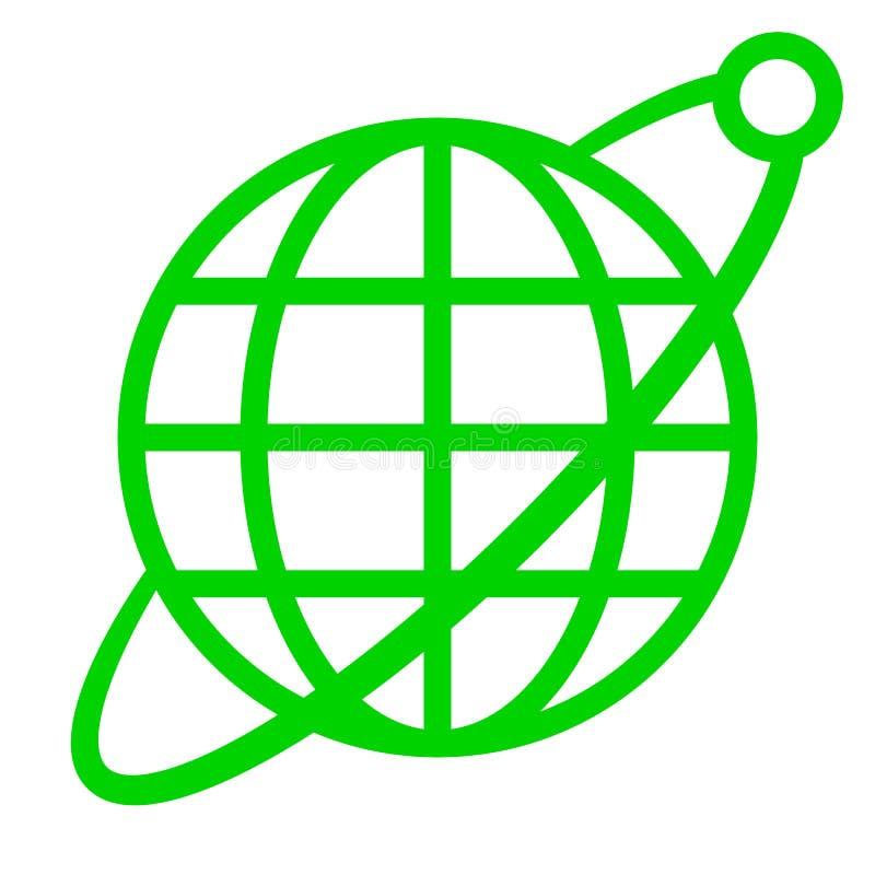 Εικονίδιο συμβόλων σφαιρών με την τροχιά και το δορυφόρο - πράσινος απλός, απομονωμένος - διάνυσμα ελεύθερη απεικόνιση δικαιώματος