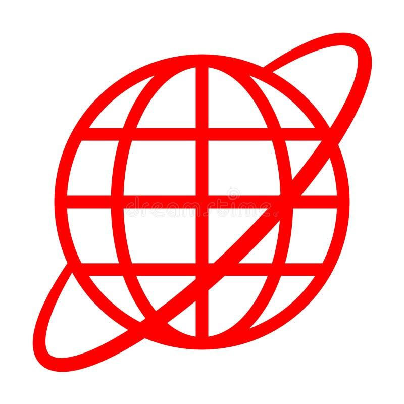 Εικονίδιο συμβόλων σφαιρών με την τροχιά - κόκκινος απλός, απομονωμένος - διάνυσμα ελεύθερη απεικόνιση δικαιώματος