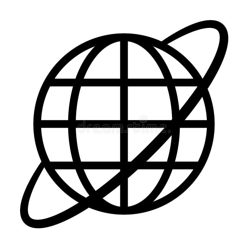 Εικονίδιο συμβόλων σφαιρών με την τροχιά - μαύρος απλός, απομονωμένος - διάνυσμα διανυσματική απεικόνιση