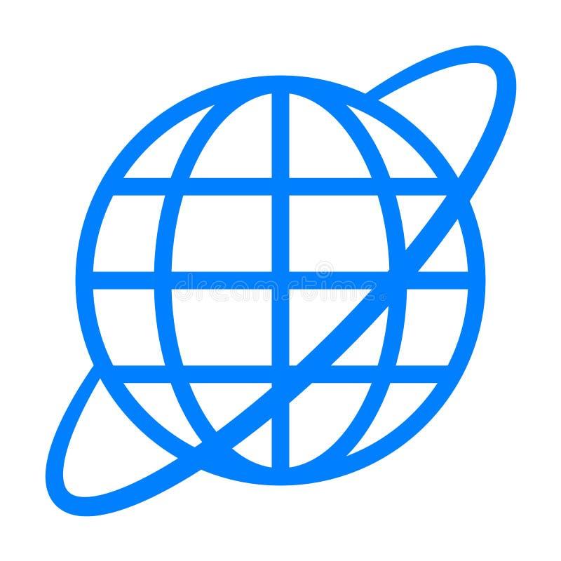 Εικονίδιο συμβόλων σφαιρών με την τροχιά - μπλε απλός, απομονωμένος - διάνυσμα διανυσματική απεικόνιση