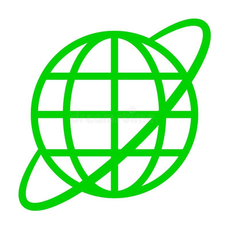 Εικονίδιο συμβόλων σφαιρών με την τροχιά - πράσινος απλός, απομονωμένος - διάνυσμα απεικόνιση αποθεμάτων