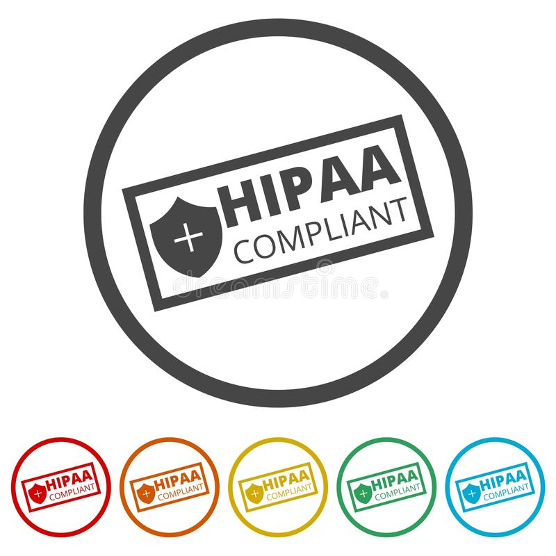 Εικονίδιο συμμόρφωσης HIPAA, 6 χρώματα συμπεριλαμβανόμενα απεικόνιση αποθεμάτων