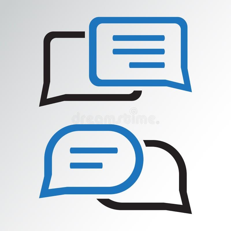 Εικονίδιο συνομιλίας Καθορισμένα σύννεφα διαλόγου Μαύρα και μπλε χρώματα r διανυσματική απεικόνιση