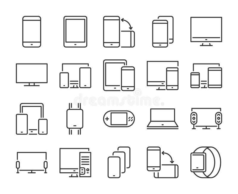 Εικονίδιο συσκευών Εικονίδια ηλεκτρονικών και γραμμών συσκευών καθορισμένα o : απεικόνιση αποθεμάτων