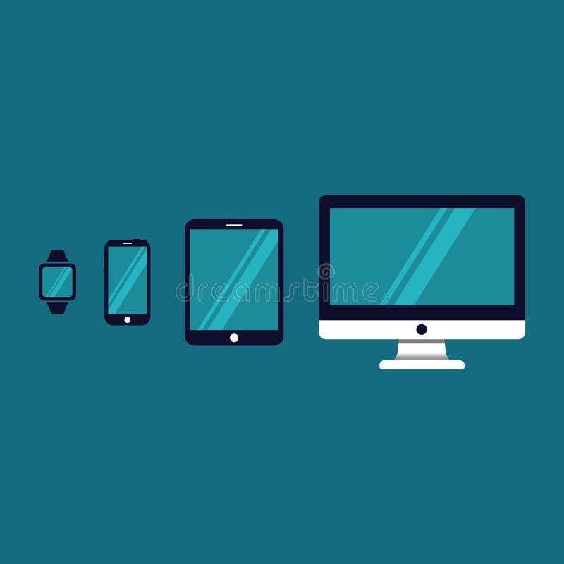 Εικονίδιο συσκευών Όργανο ελέγχου TV, ταμπλέτα, τηλέφωνο και έξυπνο ρολόι διανυσματική απεικόνιση