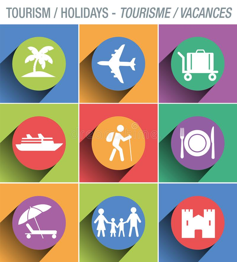 Εικονίδιο συστημάτων σηματοδότησης για να επεξηγήσει και να παρουσιάσει τον τομέα του τουρισμού διανυσματική απεικόνιση