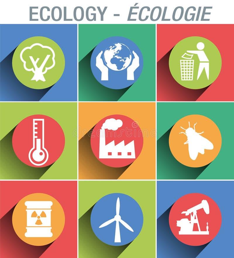 Εικονίδιο συστημάτων σηματοδότησης για να επεξηγήσει και να παρουσιάσει τον τομέα του περιβάλλοντος και οικολογίας ελεύθερη απεικόνιση δικαιώματος