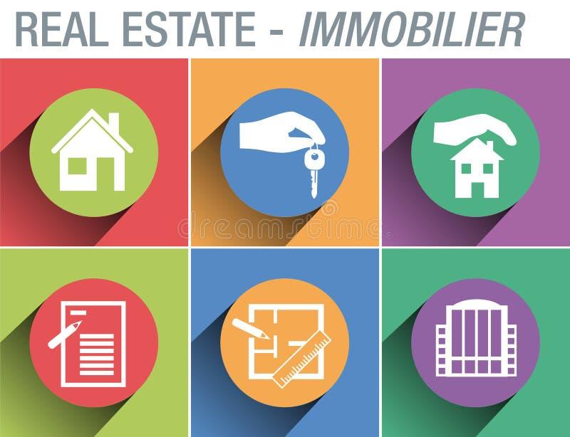 Εικονίδιο συστημάτων σηματοδότησης για να επεξηγήσει τον τομέα της κατοικίας και ακίνητων περιουσιών διανυσματική απεικόνιση