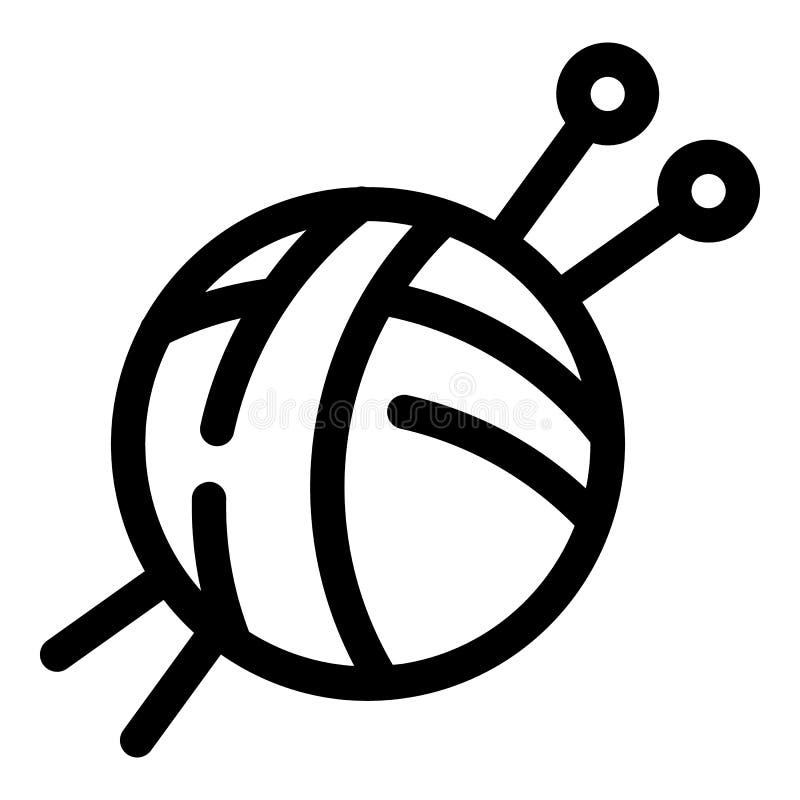Εικονίδιο σφαιρών νημάτων βαμβακιού, ύφος περιλήψεων απεικόνιση αποθεμάτων