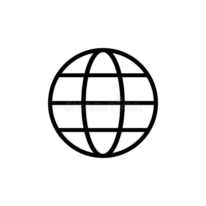 Εικονίδιο σφαιρών στο καθιερώνον τη μόδα επίπεδο ύφος που απομονώνεται στο άσπρο υπόβαθρο Σύμβολο παγκόσμιων σφαιρών για το σχέδι ελεύθερη απεικόνιση δικαιώματος