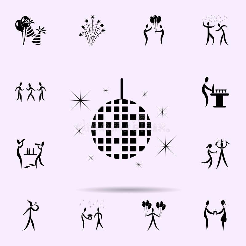 εικονίδιο σφαιρών disco Καθολικό εικονιδίων κόμματος που τίθεται για τον Ιστό και κινητό απεικόνιση αποθεμάτων