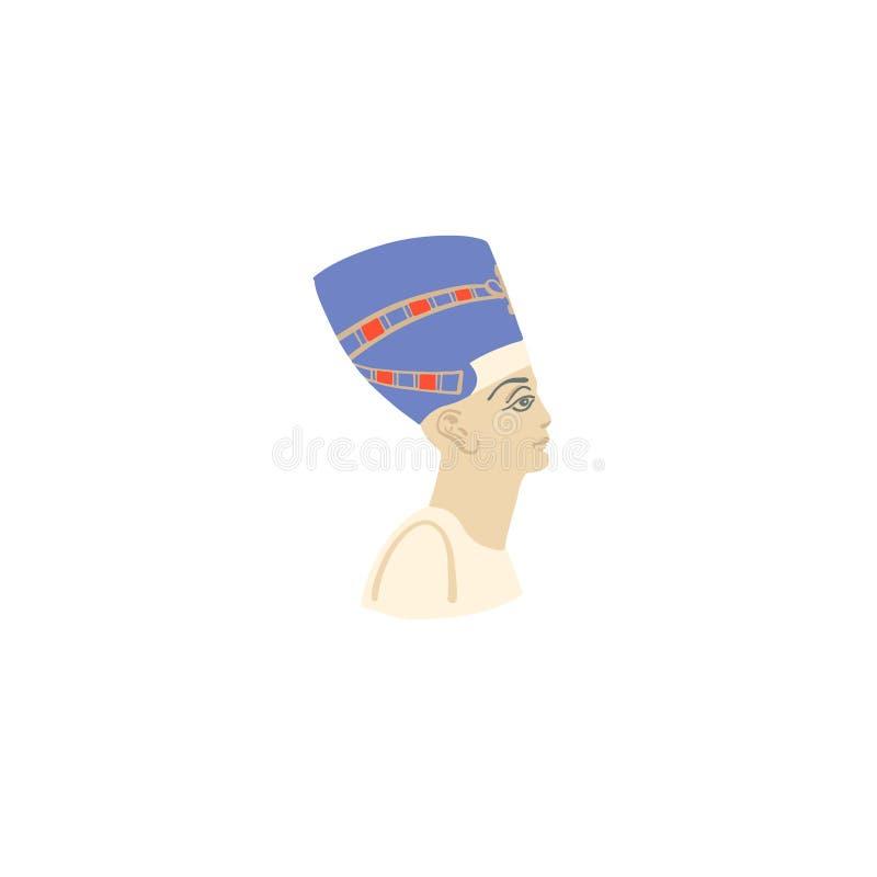 Εικονίδιο σχεδίων χεριών του πορτρέτου nefertiti βασίλισσας απεικόνιση αποθεμάτων