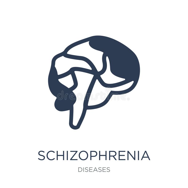 Εικονίδιο σχιζοφρένιας Καθιερώνον τη μόδα επίπεδο διανυσματικό εικονίδιο σχιζοφρένιας στο whi απεικόνιση αποθεμάτων