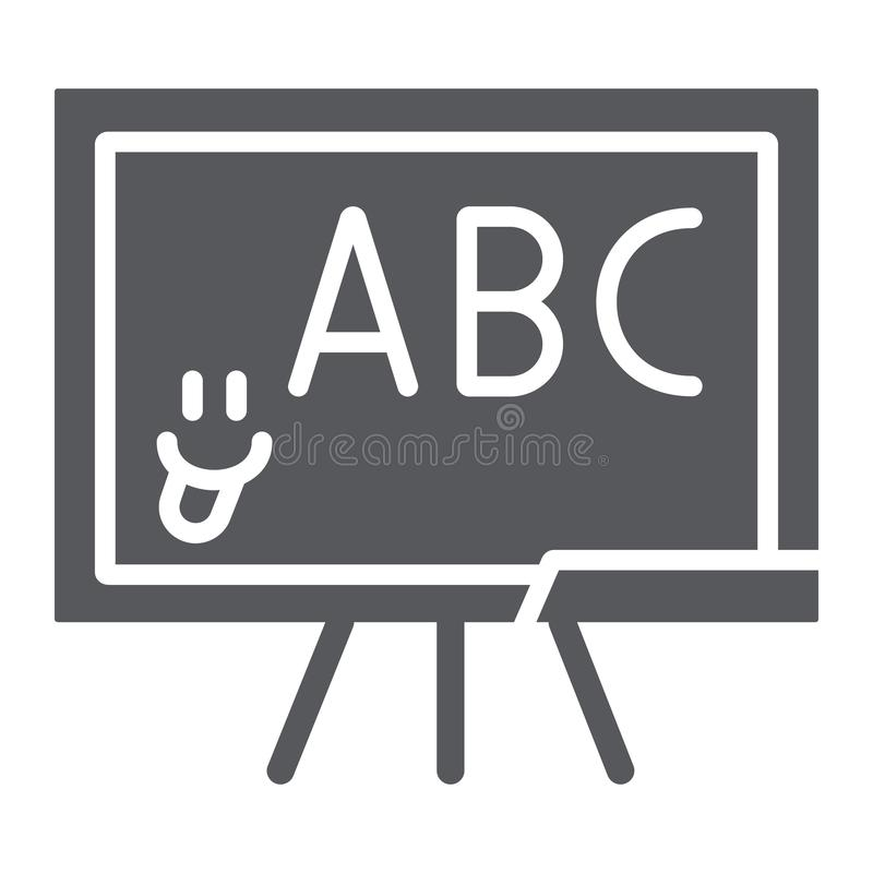 Εικονίδιο, σχολείο και τάξη σχολικών πινάκων glyph, που διδάσκουν το σημάδι πινάκων, διανυσματική γραφική παράσταση, ένα στερεό σ ελεύθερη απεικόνιση δικαιώματος