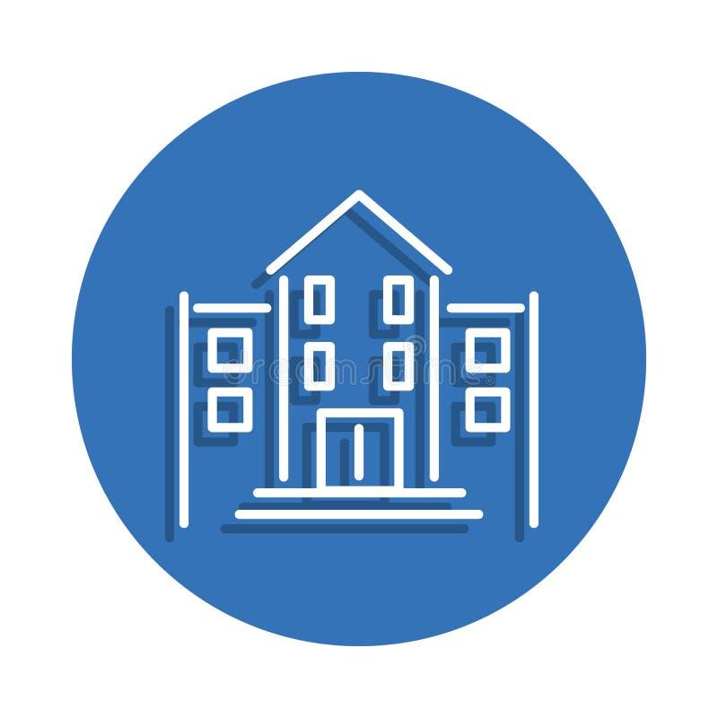 Εικονίδιο σχολικού κτιρίου Στοιχείο της εκπαίδευσης για το κινητό εικονίδιο έννοιας και Ιστού apps Λεπτό εικονίδιο γραμμών με τη  ελεύθερη απεικόνιση δικαιώματος