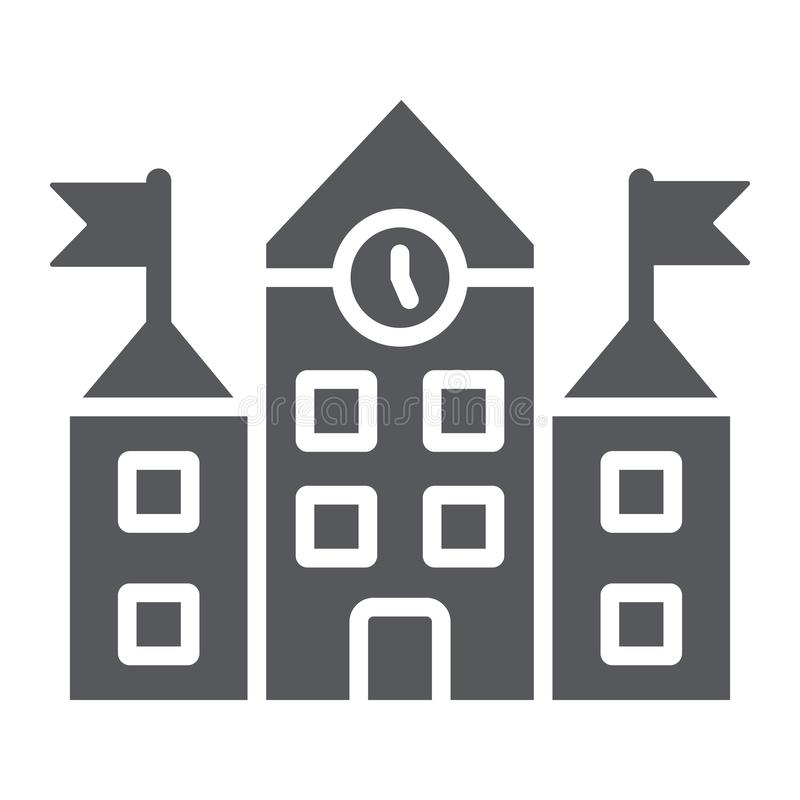 Εικονίδιο σχολικού κτιρίου glyph, εκπαίδευση και αρχιτεκτονική, πανεπιστημιακό σημάδι, διανυσματική γραφική παράσταση, ένα στερεό ελεύθερη απεικόνιση δικαιώματος