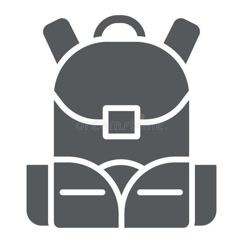 Εικονίδιο σχολικών τσαντών glyph, σακίδιο και τσάντα, σημάδι σακιδίων πλάτης, διανυσματική γραφική παράσταση, ένα στερεό σχέδιο σ διανυσματική απεικόνιση