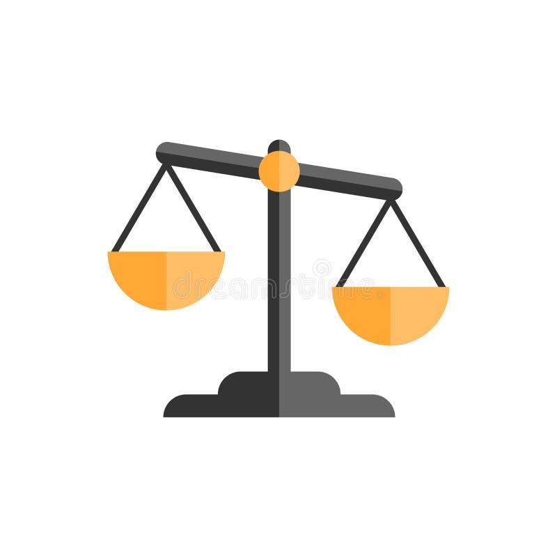 Εικονίδιο σύγκρισης κλίμακας στο επίπεδο ύφος Διανυσματικό illus βάρους ισορροπίας διανυσματική απεικόνιση
