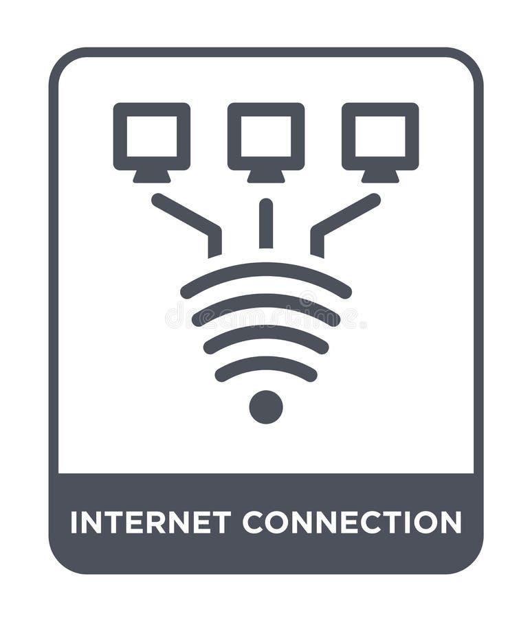 εικονίδιο σύνδεσης στο Διαδίκτυο στο καθιερώνον τη μόδα ύφος σχεδίου Εικονίδιο σύνδεσης στο Διαδίκτυο που απομονώνεται στο άσπρο  διανυσματική απεικόνιση