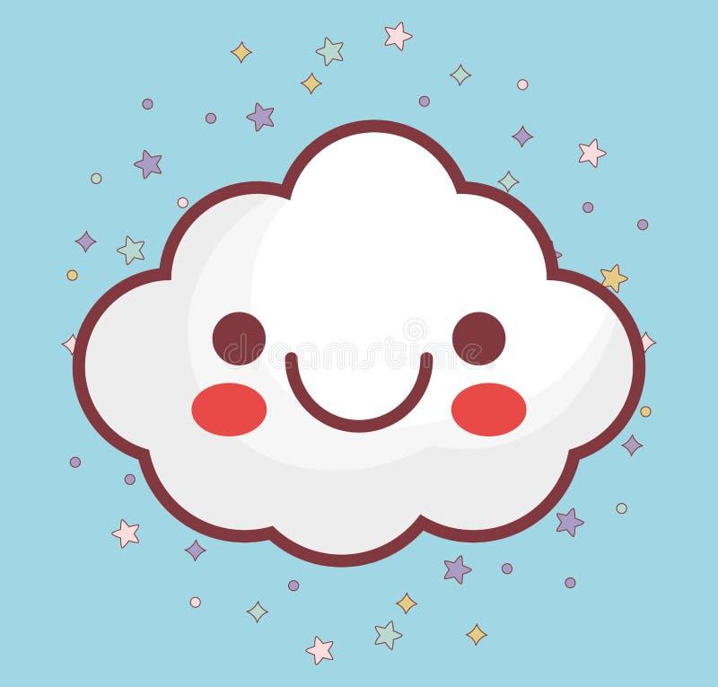 Εικονίδιο σύννεφων Kawaii ελεύθερη απεικόνιση δικαιώματος