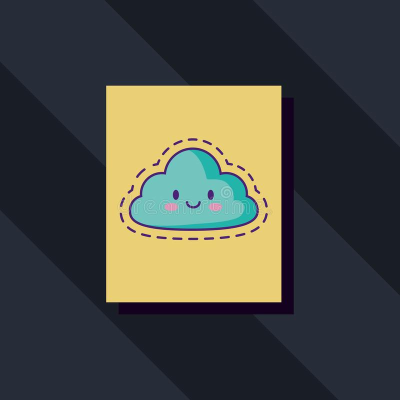 Εικονίδιο σύννεφων Kawaii διανυσματική απεικόνιση