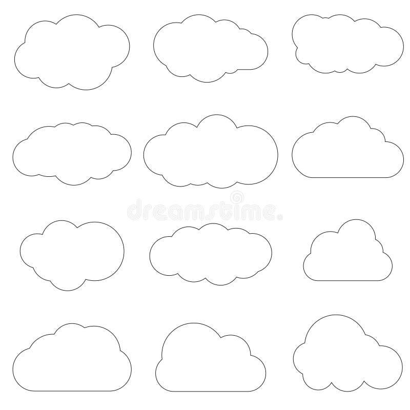Εικονίδιο τέχνης γραμμών σύννεφων Στοιχείο λύσης αποθήκευσης, βάσεις δεδομένων, netwo ελεύθερη απεικόνιση δικαιώματος