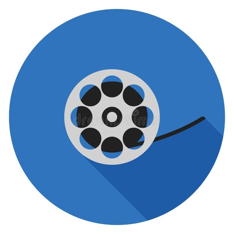 Εικονίδιο ταινιών κινηματογράφων στο επίπεδο σχέδιο στοκ εικόνα
