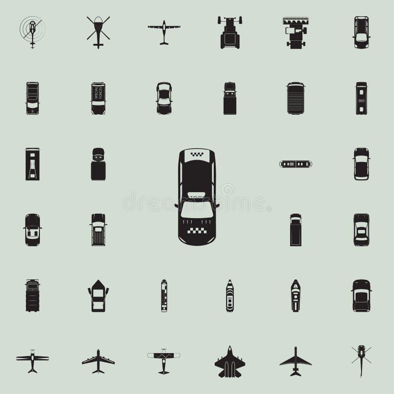 Εικονίδιο ταξί Καθολικό εικονιδίων άποψης μεταφορών άνωθεν που τίθεται για τον Ιστό και κινητό ελεύθερη απεικόνιση δικαιώματος