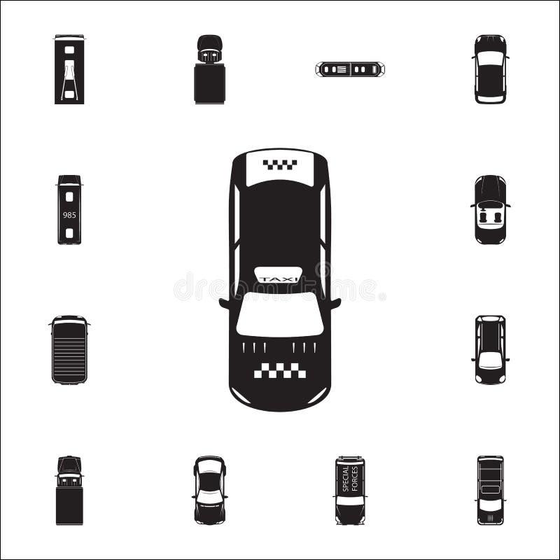 Εικονίδιο ταξί Λεπτομερές σύνολο εικονιδίων άποψης μεταφορών άνωθεν Γραφικό σημάδι σχεδίου εξαιρετικής ποιότητας Ένα από τα εικον διανυσματική απεικόνιση